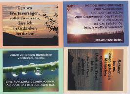 4 verschiedene Foto-Faltkarten: TRAUER - EINEN GELIEBTEN MENSCHEN VERLIEREN