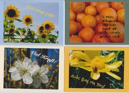 4 verschiedene Foto-Faltkarten: ALLES GUTE FÜR DICH