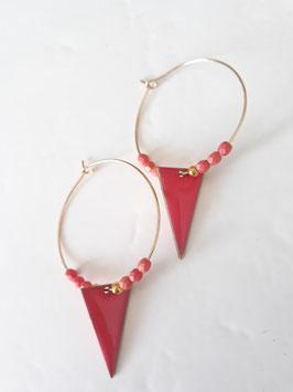 Créoles sequins triangles rose corail
