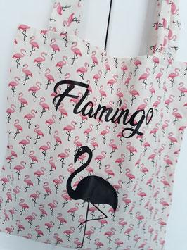 Tote Bag flamingo blanc/rose