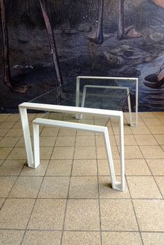Salontafel staal met zwevend glas  |  19.1110.M