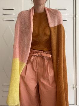 Gebreide sjaal honey-peach-soft yellow