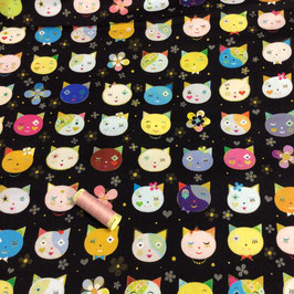 Patchwork Katzenköpfe schwarz-bunt