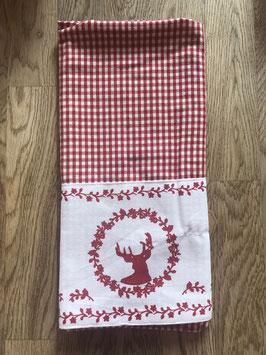 Küchentuch Hirsch karo rot
