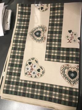 Tischtuch mit Herz und Karo in  2 Farben rot oder grün