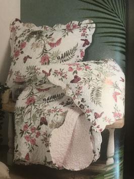 Tagesdecke, Bettüberwurf mit Blumen und Schmetterlingen für Doppelbett