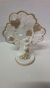 12 Alberi della vita con coppia di sposi dorato/grande in resina smaltata a mano 10x4.5x12 cm