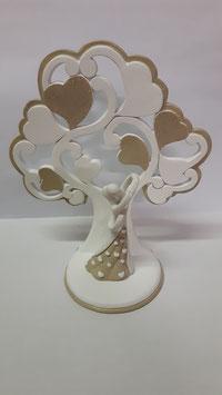 4 Alberi della vita con coppia di sposi dorato/grande in resina smaltata a mano 14x6x16 cm