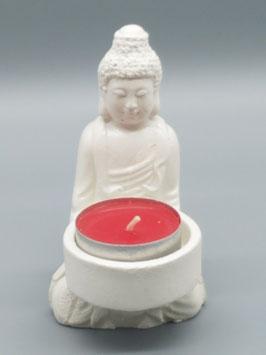 """Teelichthalter """"Buddha"""" klein - weiss"""