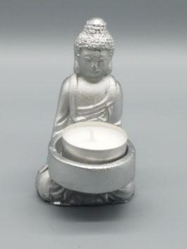 """Teelichthalter """"Buddha"""" klein - silber"""