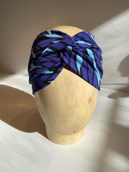 Jerseyhaarband lila-bleu gemustert