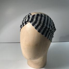 Jerseyhaarband gerafft in grau-schwarz gestreift