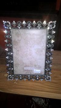 Bilderrahmen Metall mit Strass silber, Bildgröße 12 x 18 cm