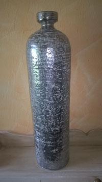 Flaschenvase Keramik silber/gau
