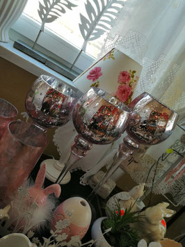 Glaswindlichter silber/rosé-Ton  (hier im Bild links die kleine Variante)