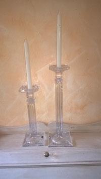 Glaskerzenleuchter (hier im Bild rechts, große Variante)