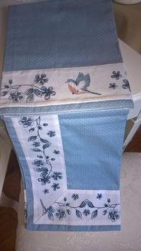 Baumwolltischdecke blau/weiß 150 x 150 cm