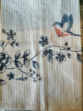 """Geschirrtuch """"blaue Blume/ Vogel"""" Waffelpique"""
