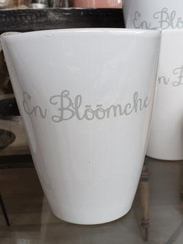 """Übertopf """"Blöömche"""" mit grauer Schrift"""