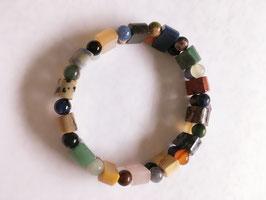 Buntes Jaspis Armband Perlen und Halbkugeln,  elastisch Stretchband 19 cm