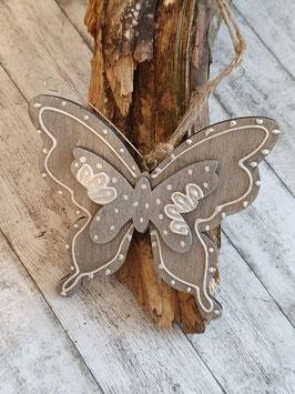 Schmetterling Holz grau