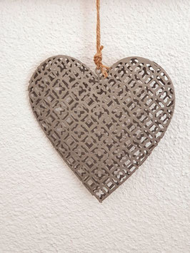 Herz Anhänger Gitter grau 14x14cm