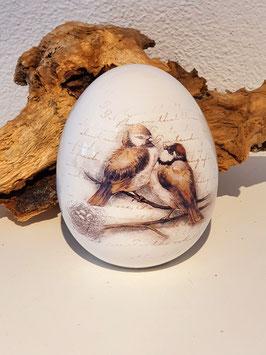 Ei mit Aufdruck Vögelis