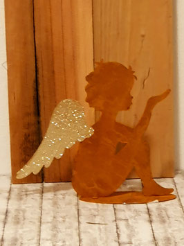Engel kniend rostfarben mit Goldglitzer Flügel