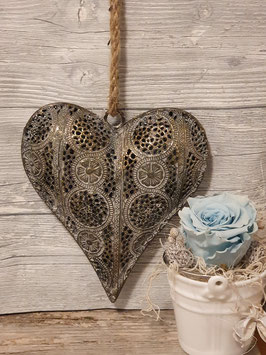 Herz Anhänger Metall mit Ornament
