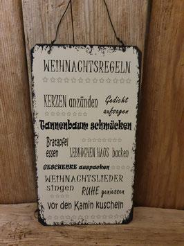 """Spruchschild """"Weihnachtsregeln/Winterregeln"""