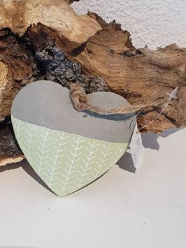 Herz Anhänger Grün /Grau