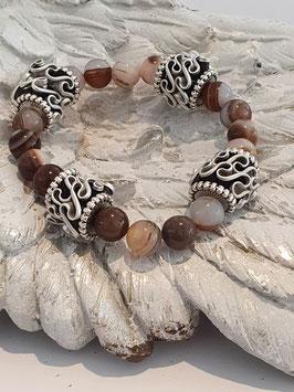 Armband mit Botswana Achat und Kaffeekapseln