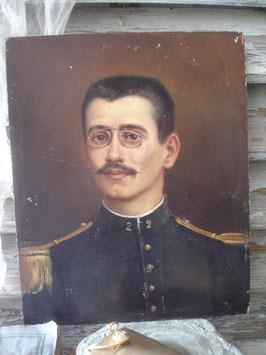 Antikes Soldaten Porträt Öl auf Holz  19. Jahrhundert