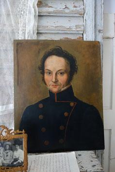 Antikes Porträt eines jungen Herrn in Uniform, Öl auf Holz  19. Jahrhundert