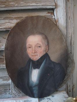 Antikes ovales Pastell Portrait eines stattlichen Herrn, Frankreich  19. Jahrhundert