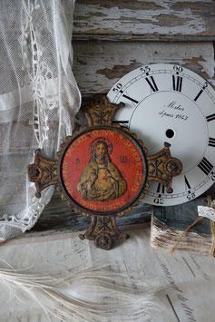 Dekorative alte religiöse Metallplakette Frankreich