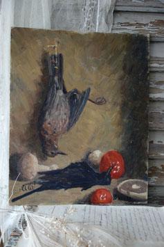 Antikes Stillleben Öl auf Karton aus Frankreich