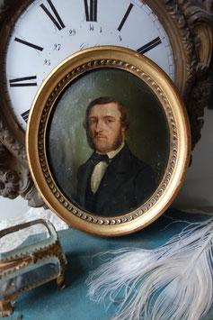 Kleines Herren Porträt Ölgemälde, 19. Jahrhundert