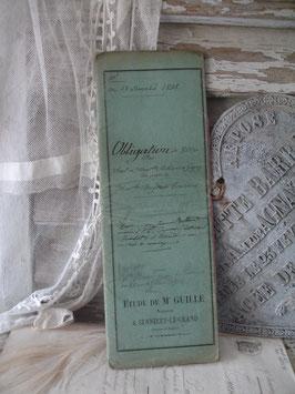 Dekoratives antikes handgeschriebenes Notarschriftstück 1898 Frankreich