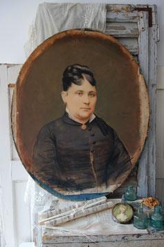 Antikes ovales Pastell Portrait einer jungen Dame, Frankreich  19. Jahrhundert