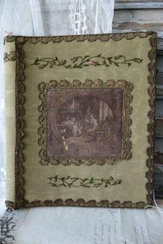 Seltene antike Stoff Dokumenten-Mappe Frankreich 19. Jahrhundert