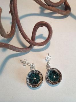 """petites boucles d'oreilles pendantes """"grand bleu"""" supports en argent 925"""