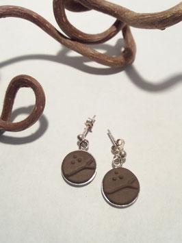 """petites boucles d'oreilles pendantes """"arbres"""" brunes support en argent 925"""