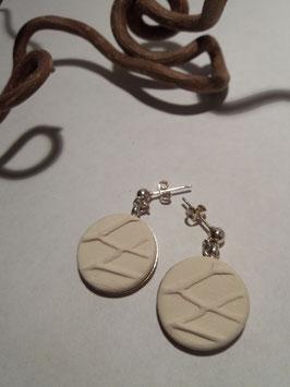 """grandes boucles d'oreilles pendantes """"arbres"""" blanches supports en laiton argenté"""