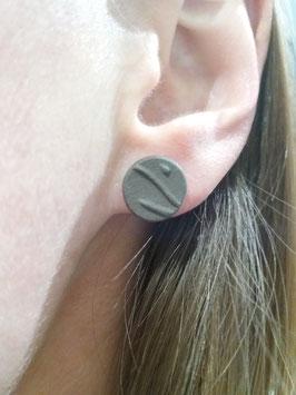"""puces d'oreilles """"arbres"""" brunes supports en laiton argenté"""