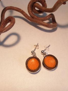 """petites boucles d'oreilles pendantes """"magma"""" supports en laiton argenté"""