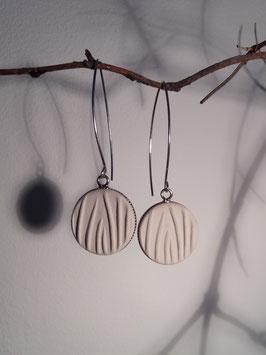 """boucles d'oreilles longues """"herbes"""" blanches supports en argent 925"""
