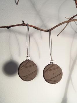 """boucles d'oreilles longues """"arbres"""" brunes supports en argent 925"""