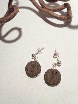 """petites boucles pendantes """"herbes"""" brunes supports en laiton argenté"""