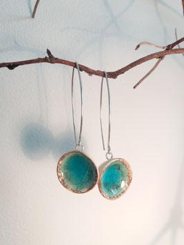 """boucles d'oreilles longues """"turquoise"""" supports en argent 925"""